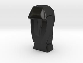 Geometric Head Sculpture in Matte Black Porcelain