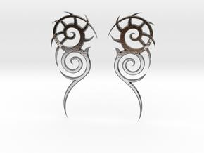"""Tribal """"Death essense"""" Earrings in Polished Silver"""