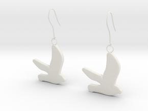 Bird earrings in White Natural Versatile Plastic