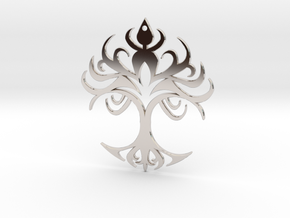 "Tribal ""Life Essence"" Pendant in Rhodium Plated Brass"