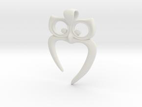 Owl Heart Pendant in White Premium Versatile Plastic