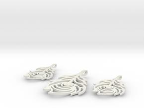 Peacock Feather Pendant/Earrings Set in White Premium Versatile Plastic