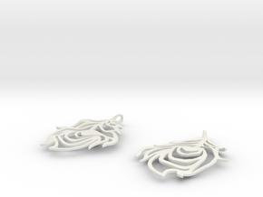 Feather Earrings in White Premium Versatile Plastic