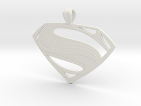 Man Of Steel - Pendant in White Premium Versatile Plastic