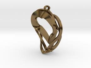Triple Heart Pendant in Polished Bronze