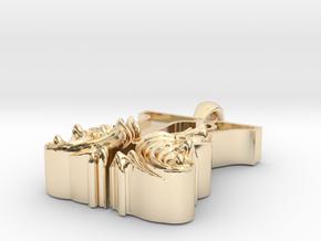 Scroll Letter K – Initial Letter Pendant in 14k Gold Plated Brass