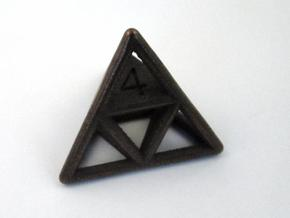D4 Cage Dice in Polished Bronze Steel