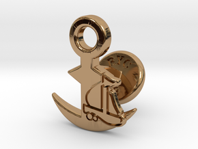 Cufflinks - Full Speed Ahead! Aye Aye! in Polished Brass
