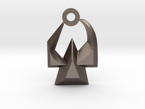 House of Martok Charm in Polished Bronzed Silver Steel: Small