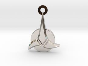 Klingon Empire Charm in Rhodium Plated Brass: Small