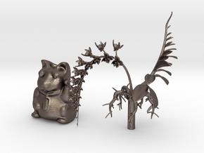 Bloom'n Neko - A Maneki Neko Planter & Orchid 180m in Polished Bronzed Silver Steel