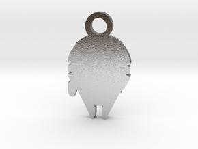 Millennium Falcon Silhouette Charm in Natural Silver