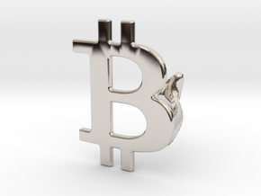 Bitcoin Cufflink in Platinum