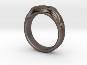 DESIGNER RING 5 in Polished Bronzed-Silver Steel: 7 / 54