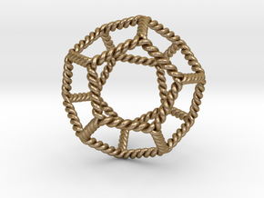 Twisted Dodecahedron LH in Polished Gold Steel
