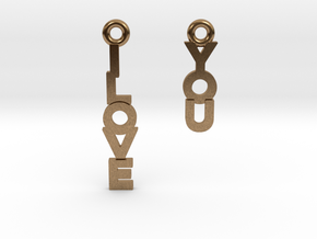 """I love you"" - Cute messages earings in Natural Brass"