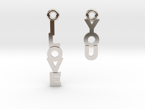 """I love you"" - Cute messages earings in Rhodium Plated Brass"