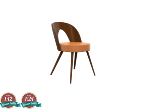 Miniature 1960 Wooden Tatra Chair in White Natural Versatile Plastic: 1:24