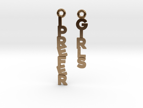 """I prefer girls"" - Naughty messages earings in Natural Brass"