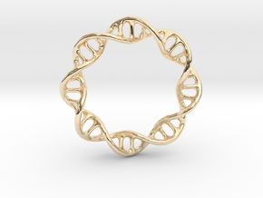 DNA Ring 1 in 14k Gold Plated Brass