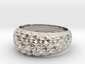 Geometric Cristal Ring 2 in Rhodium Plated Brass