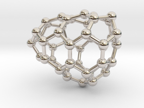 0637 Fullerene c44-9 c1 in Rhodium Plated Brass