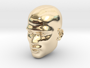 Male head in 14k Gold Plated Brass