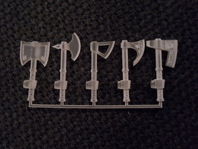 Miniature Axe Collection (right hand) in Smooth Fine Detail Plastic
