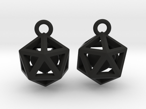 Polyhedron earrings with interlocked heart in Black Premium Versatile Plastic