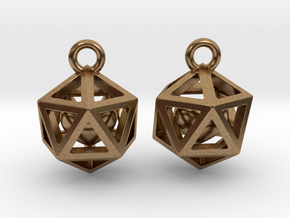 Polyhedron earrings with interlocked heart in Natural Brass (Interlocking Parts)