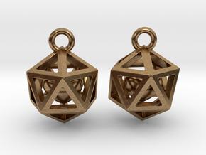 Polyhedron earrings with interlocked heart in Interlocking Raw Brass