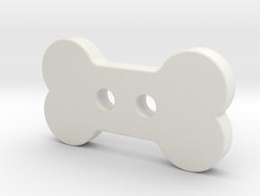 Bone Button in White Natural Versatile Plastic