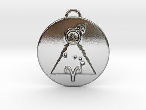 Aries talisman in Polished Silver