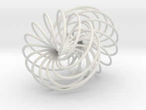Double Spiral Torus 7/12, golden ratio 3 in White Natural Versatile Plastic