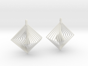 Earrings 20 squares in White Natural Versatile Plastic