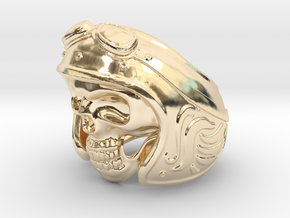 Skull Motorcycle Helmet in 14k Gold Plated Brass