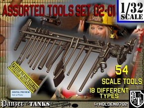 1/32 Assorted Tools Set02-01 in Smooth Fine Detail Plastic