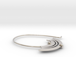 Large open hoop with blade shaped detail (SWH4a) in Rhodium Plated Brass