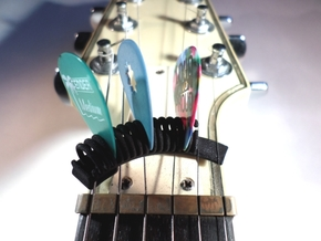 Curved Guitar Pick Holder in Black Natural Versatile Plastic