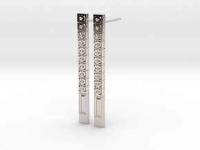 Bar Earring with Pattern of Carved Circles in Platinum
