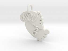 NICU 3 Keychain in White Natural Versatile Plastic