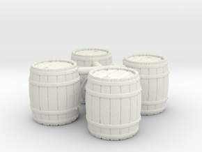 Open Wooden Barrel, x4, 28mm Scale in White Natural Versatile Plastic