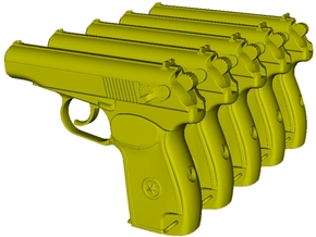 1/25 scale USSR KGB Makarov pistols x 5 in Smooth Fine Detail Plastic