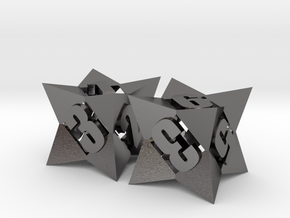 Octetric d6 dice pair in Polished Nickel Steel