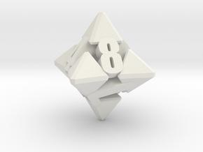 Hextrapyramidical d8 in White Premium Strong & Flexible