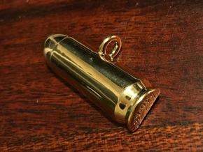 .50AE Bullet Pet Tag / Key Fob in Polished Brass