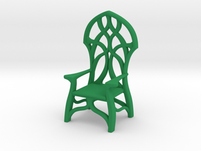 Elven Chair - 1/48 scale in Green Strong & Flexible Polished
