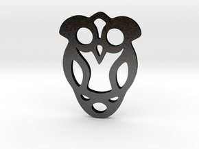 Owl Pendant in Matte Black Steel