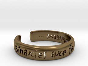 Binaries Are For Computers Open Cuff Bangle in Natural Bronze