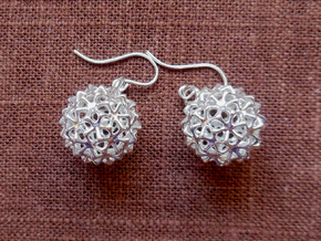 Snowballs - Earrings in Cast Metals in Polished Silver